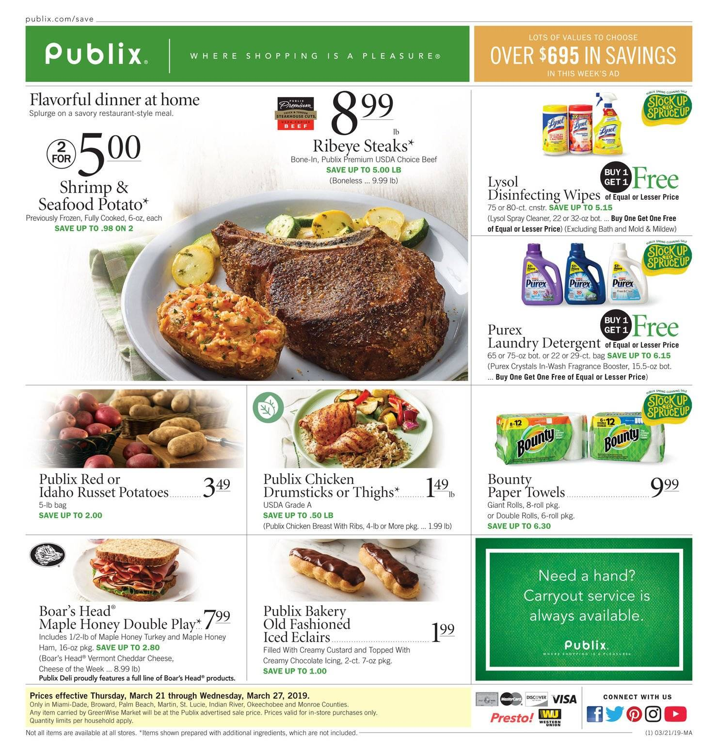 Publix Flyer - 03.21.2019 - 03.27.2019 - Sales products - seafood, shrimps, ham, cheddar, cheese, chocolate, turkey, chicken, chicken breasts, chicken drumsticks, chicken meat, kitchen towels, paper towels, detergent, wipes, cleaner, laundry detergent, Purex, fragrance. Page 1.