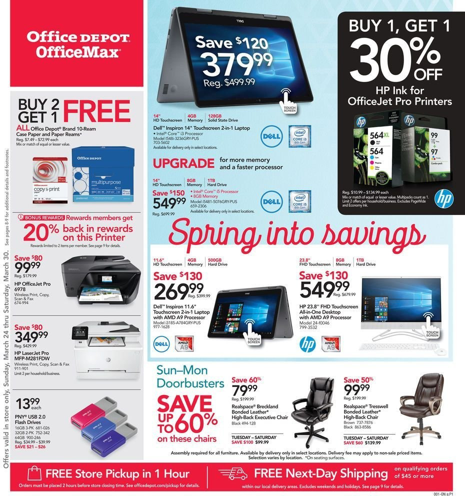 Office DEPOT Flyer  - 03.24.2019 - 03.30.2019. Page 1.