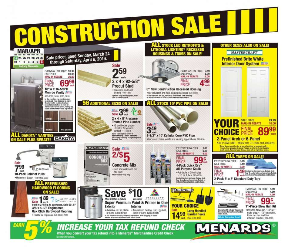 Menards Flyer 03 24 2019 04 06 2019 Weekly Ads Us