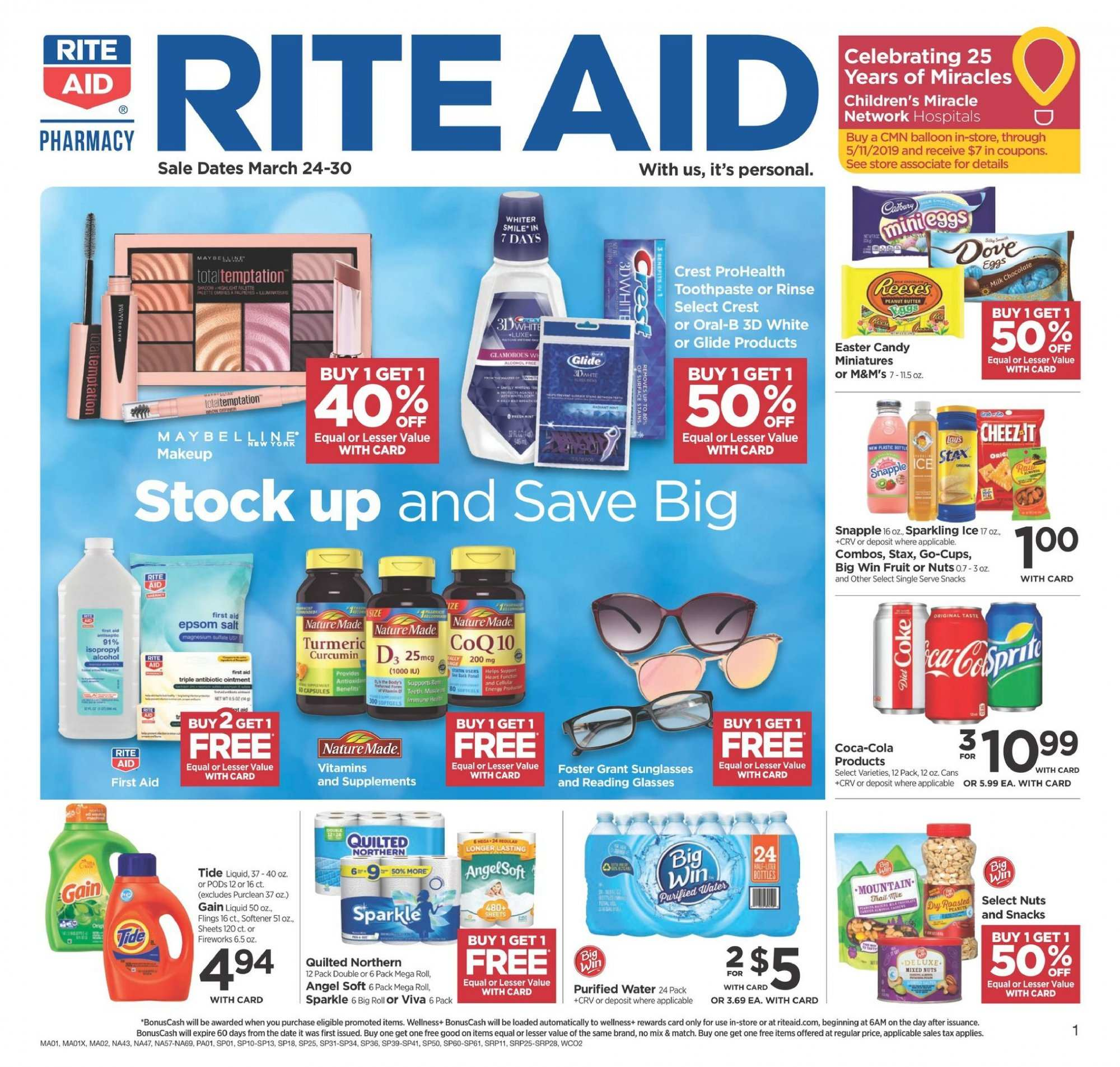 RITE AID Flyer - 03.24.2019 - 03.30.2019 - Sales products - angel, coca-cola, coq, crest, dates, gain, sunglasses, tide, ointment, oral-b, candy, toothpaste, softener, salt, quilted northern, nuts, fruit, liquid, purified water. Page 1.