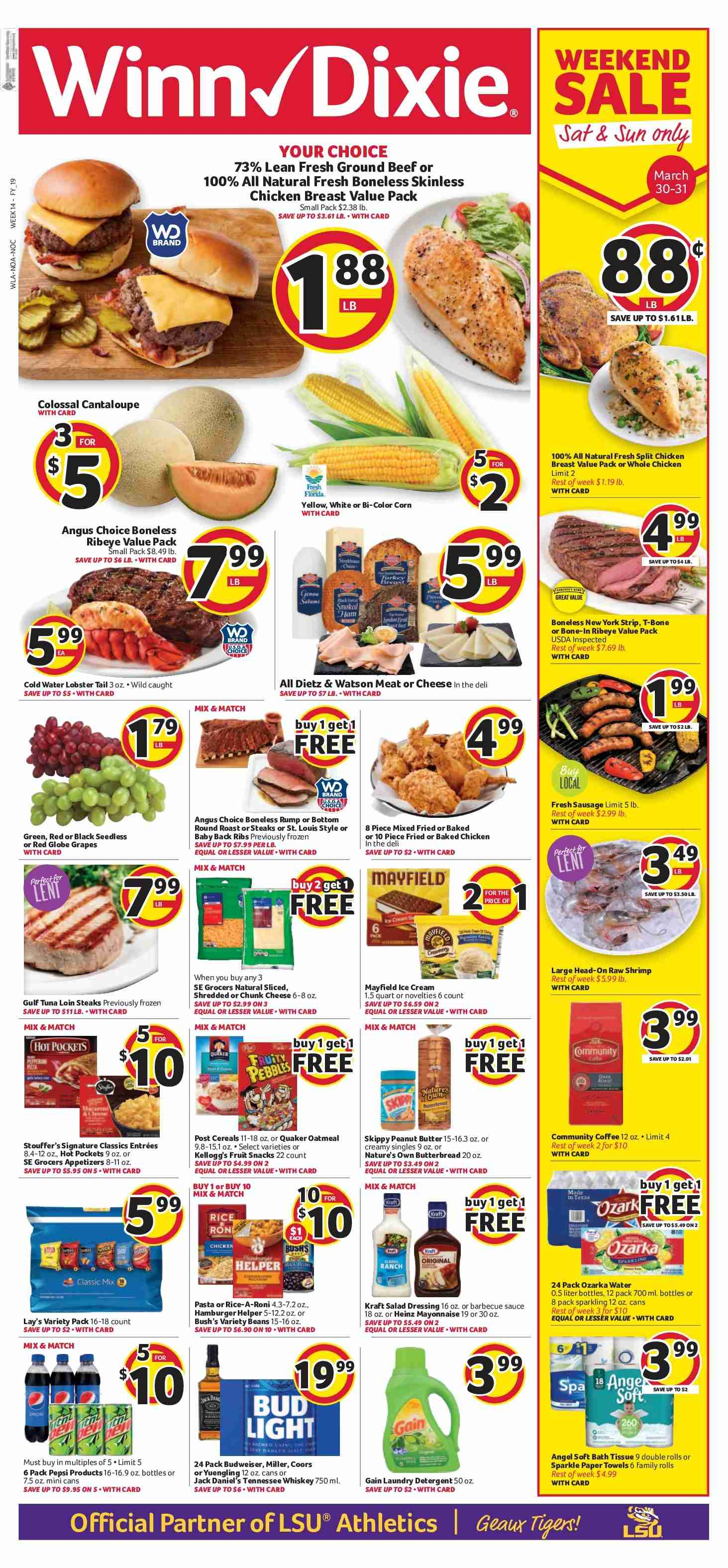 Winn Dixie Flyer - 03.27.2019 - 04.02.2019 - Sales products - Budweiser, Bud Light, Coors, cantaloupe, corn, grapes, red globe grapes, rolls, whole chicken, chicken, chicken breast, beef meat, ground beef, hamburger, lobster, tuna, lobster tail, shrimps, sausage, cheese, mayonnaise, sauce, ice cream, beans, snack, Lay's, Heinz, barbecue sauce, dressing, salad dressing, Pepsi, water, Tennessee Whiskey, whiskey, Jack Daniel's, bath tissue, paper towel, Gain, ribs. Page 1.