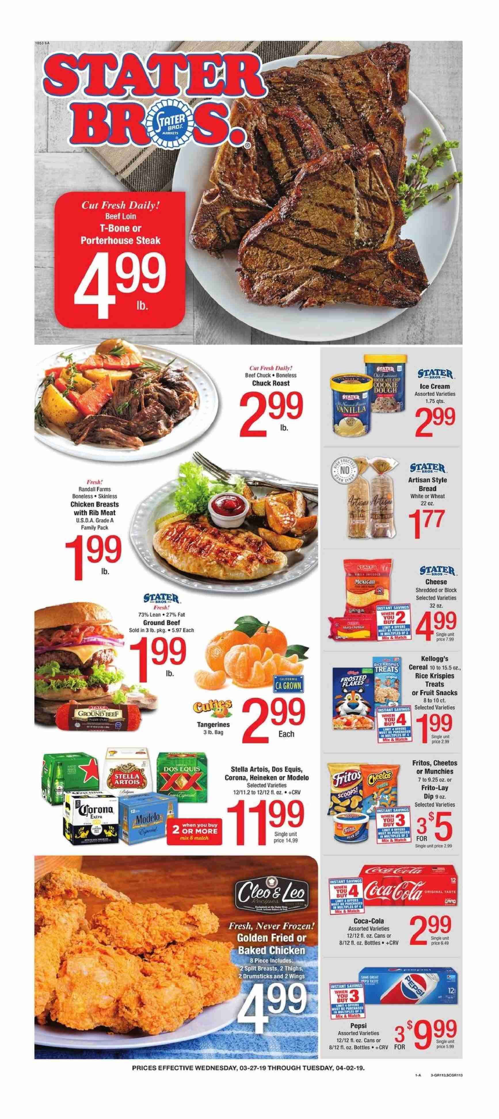 Stater Bros. Flyer  - 03.27.2019 - 04.02.2019. Page 1.