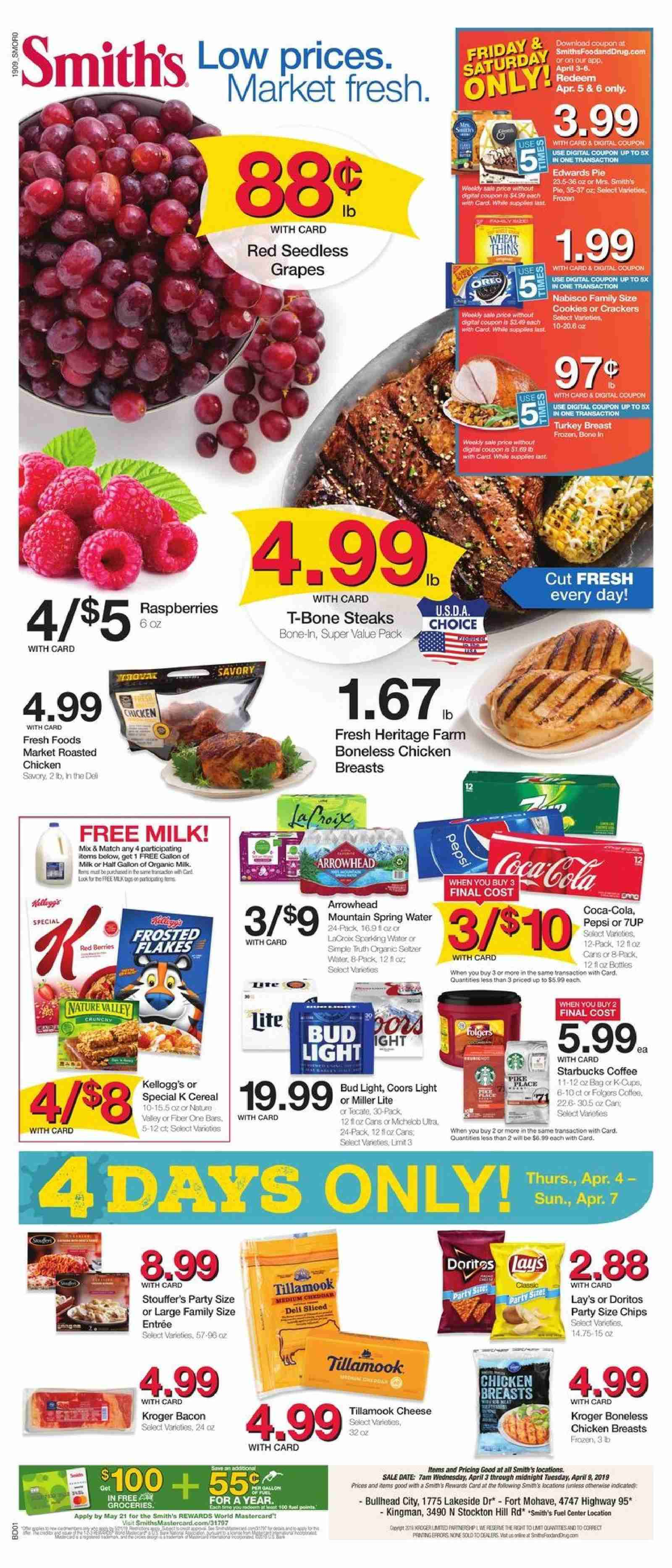 Smith's Flyer - 04.03.2019 - 04.09.2019 - Sales products - Miller Lite, Bud Light, Coors, grapes, raspberries, seedless grapes, pie, cheese, milk, chips, Coca-Cola, seltzer, water, coffee, Folgers, turkey, turkey breast, chicken, chicken breast, t-bone steak, Frozen, Starbucks. Page 1.