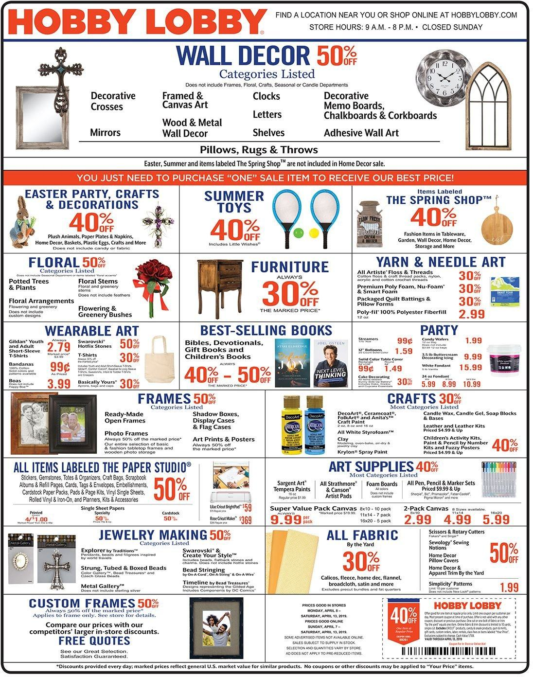 Hobby Lobby Flyer  - 04.07.2019 - 04.13.2019. Page 1.