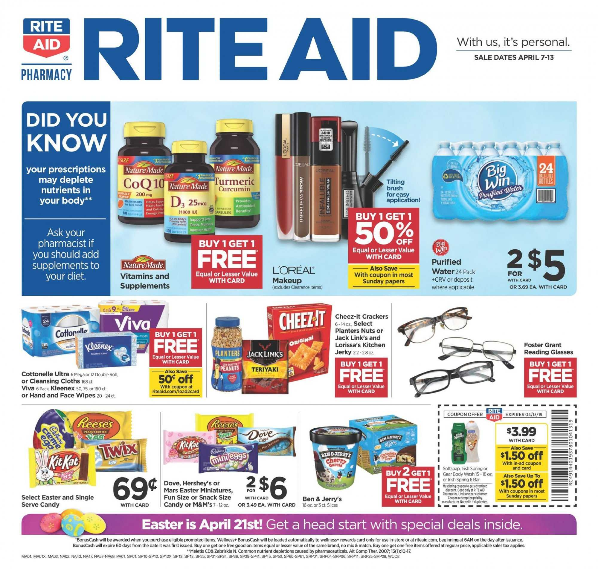 RITE AID Flyer  - 04.07.2019 - 04.13.2019. Page 1.