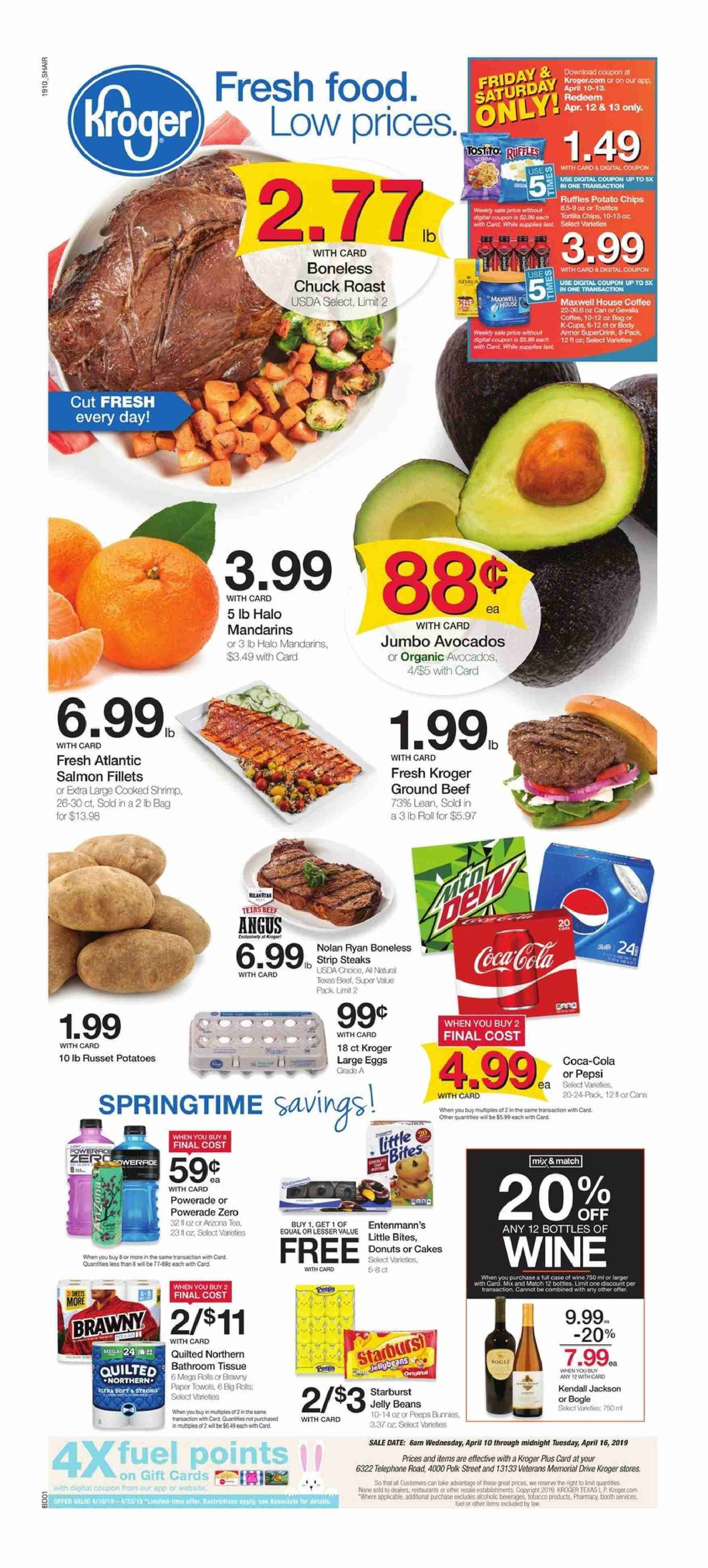 Kroger Flyer - 04.10.2019 - 04.16.2019 - Sales products - avocado, beans, beef meat, case, coffee, eggs, fuel, ground beef, maxwell house, maxwell house coffee, russet potatoes, salmon, shrimp, polk, potato chips, potatoes, powerade, organic, chips, quilted northern, wine, jelly, roast. Page 1.