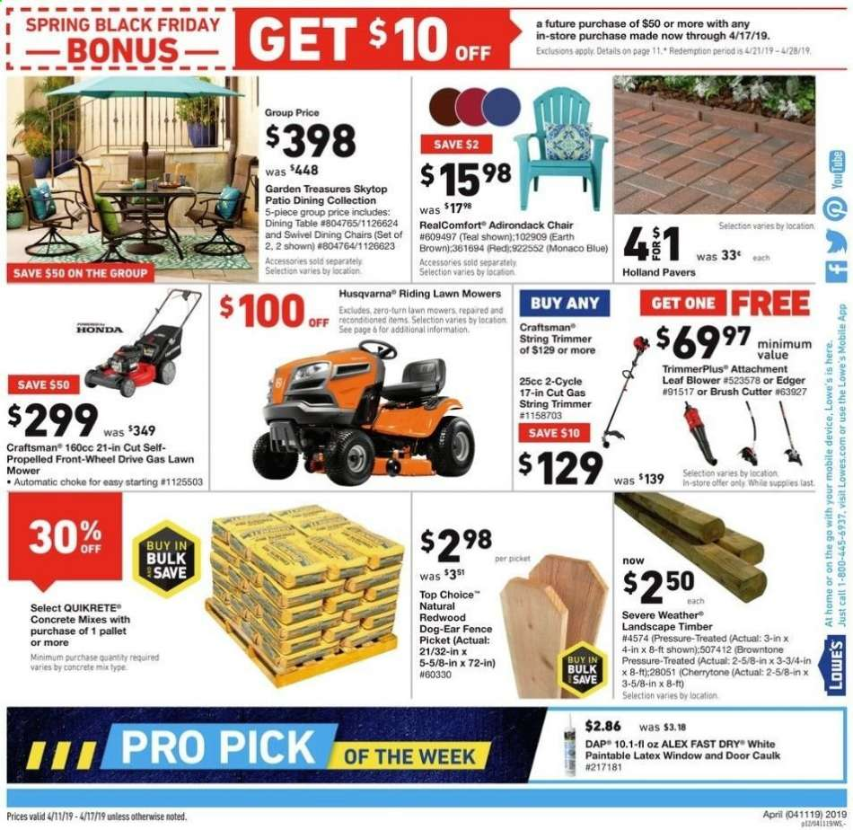 Lowe's flyer 04 11 2019 - 04 17 2019 | Weekly-ads us