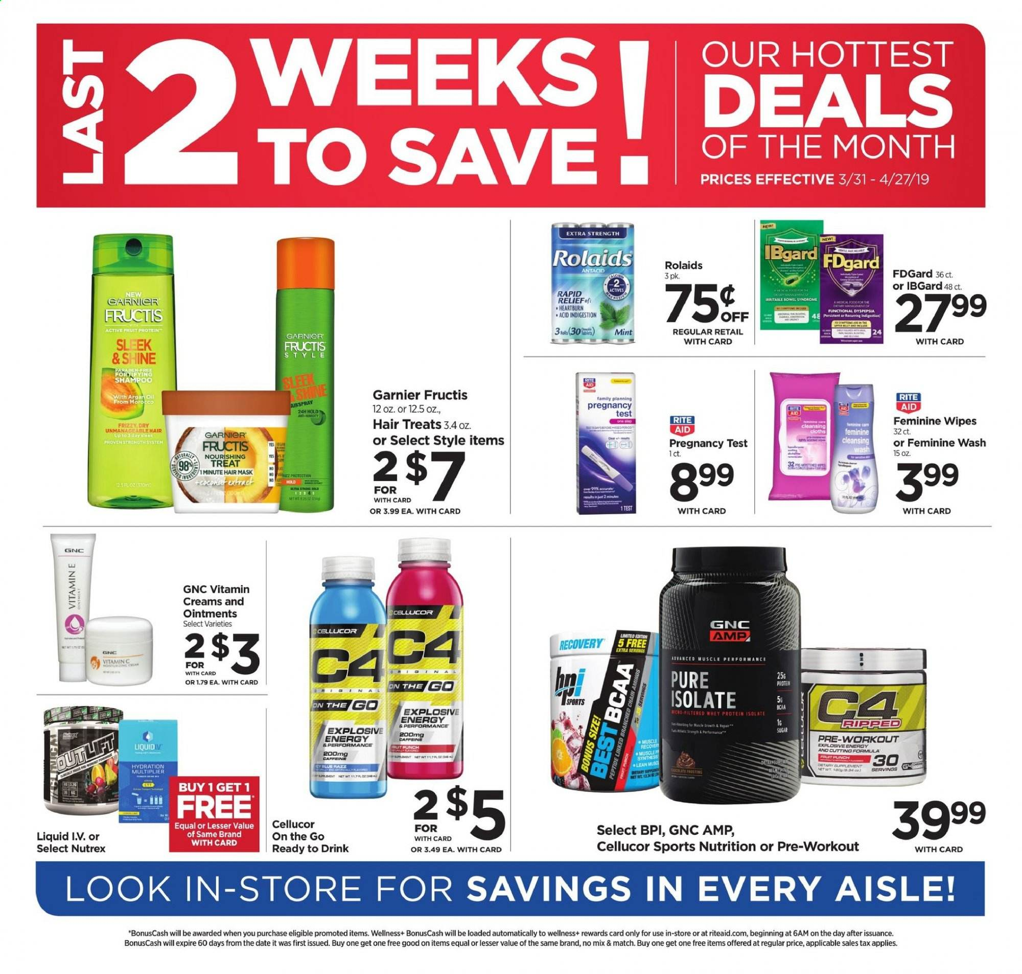 RITE AID Flyer - 03.31.2019 - 04.27.2019 - Sales products - wipes, Garnier, mask. Page 1.