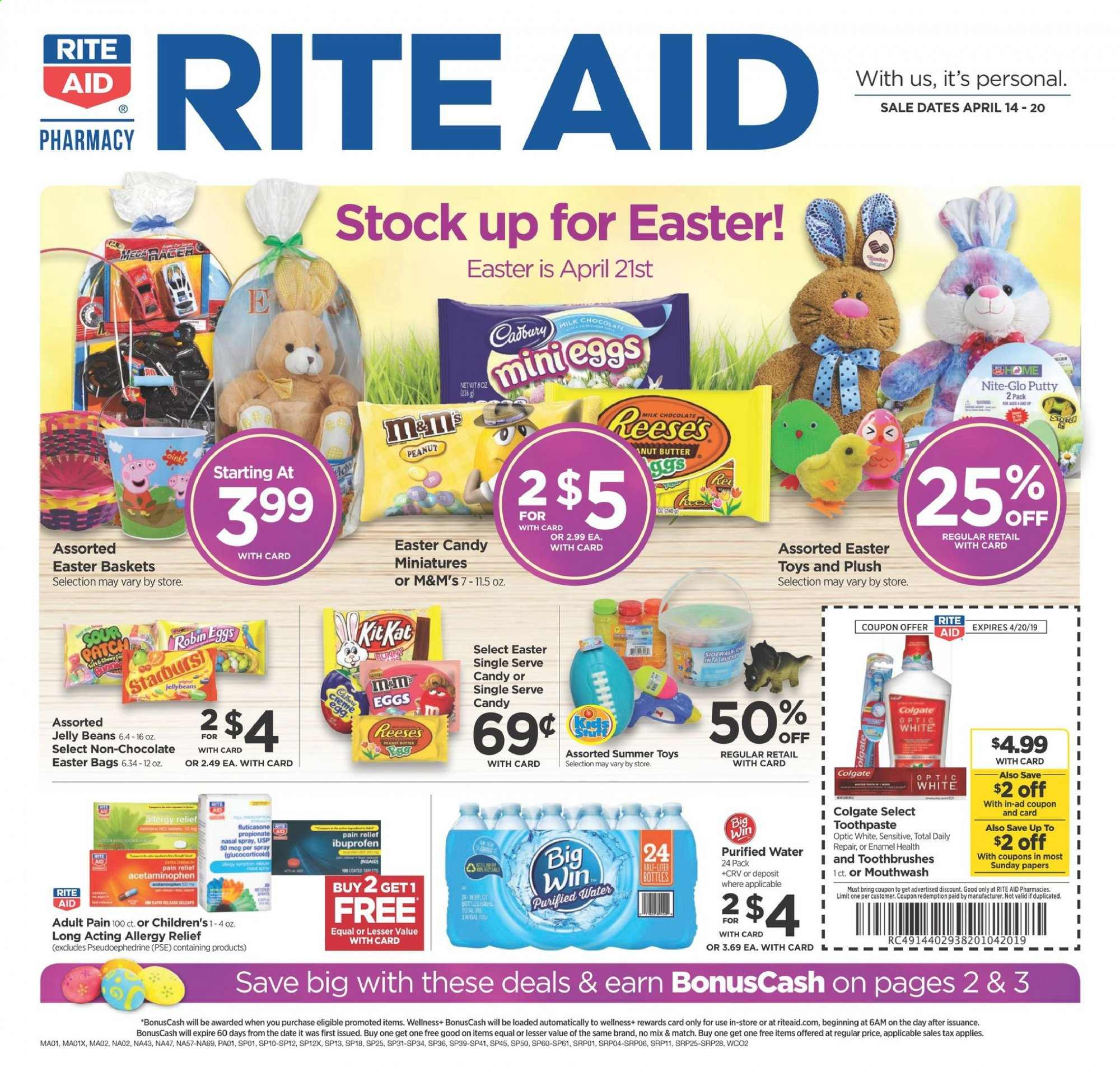 RITE AID Flyer - 04.14.2019 - 04.20.2019 - Sales products - bag, basket, beans, butter, dates, eggs, colgate, milk chocolate, repair, spray, ibuprofen, pain relief, chocolate, toys, candy, toothpaste, mouthwash, jelly, purified water, easter, m&m's. Page 1.