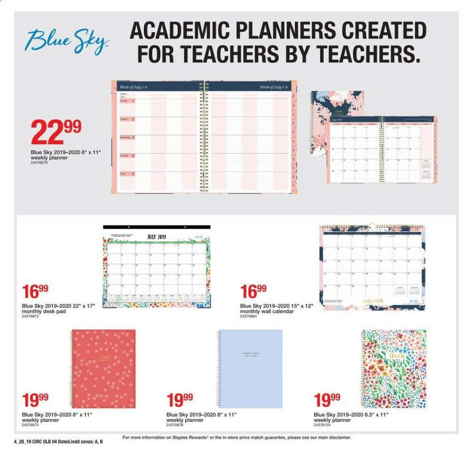 1b3052aded1 Staples Flyer - 04.28.2019 - 05.04.2019 - Sales products - calendar
