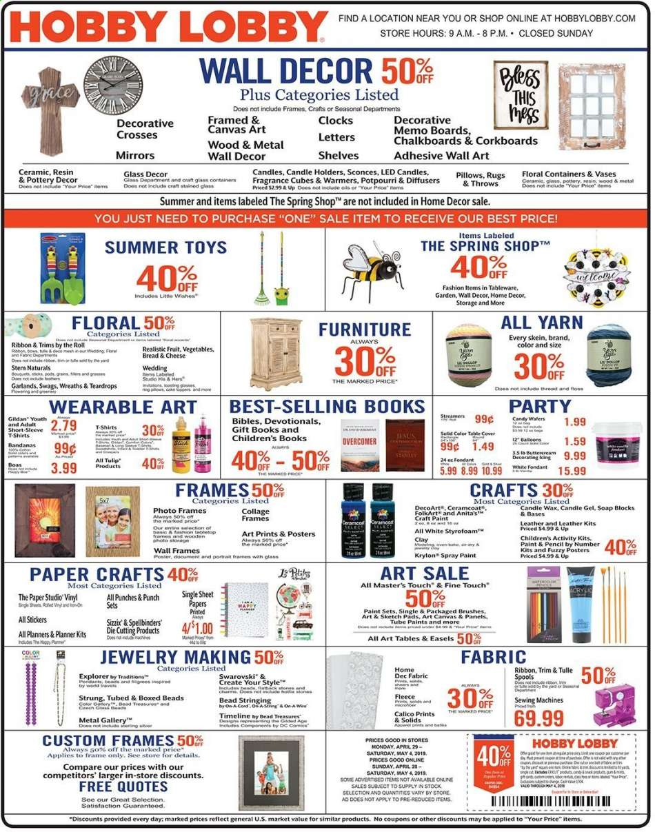 Hobby Lobby flyer 04 28 2019 - 05 04 2019   Weekly-ads us