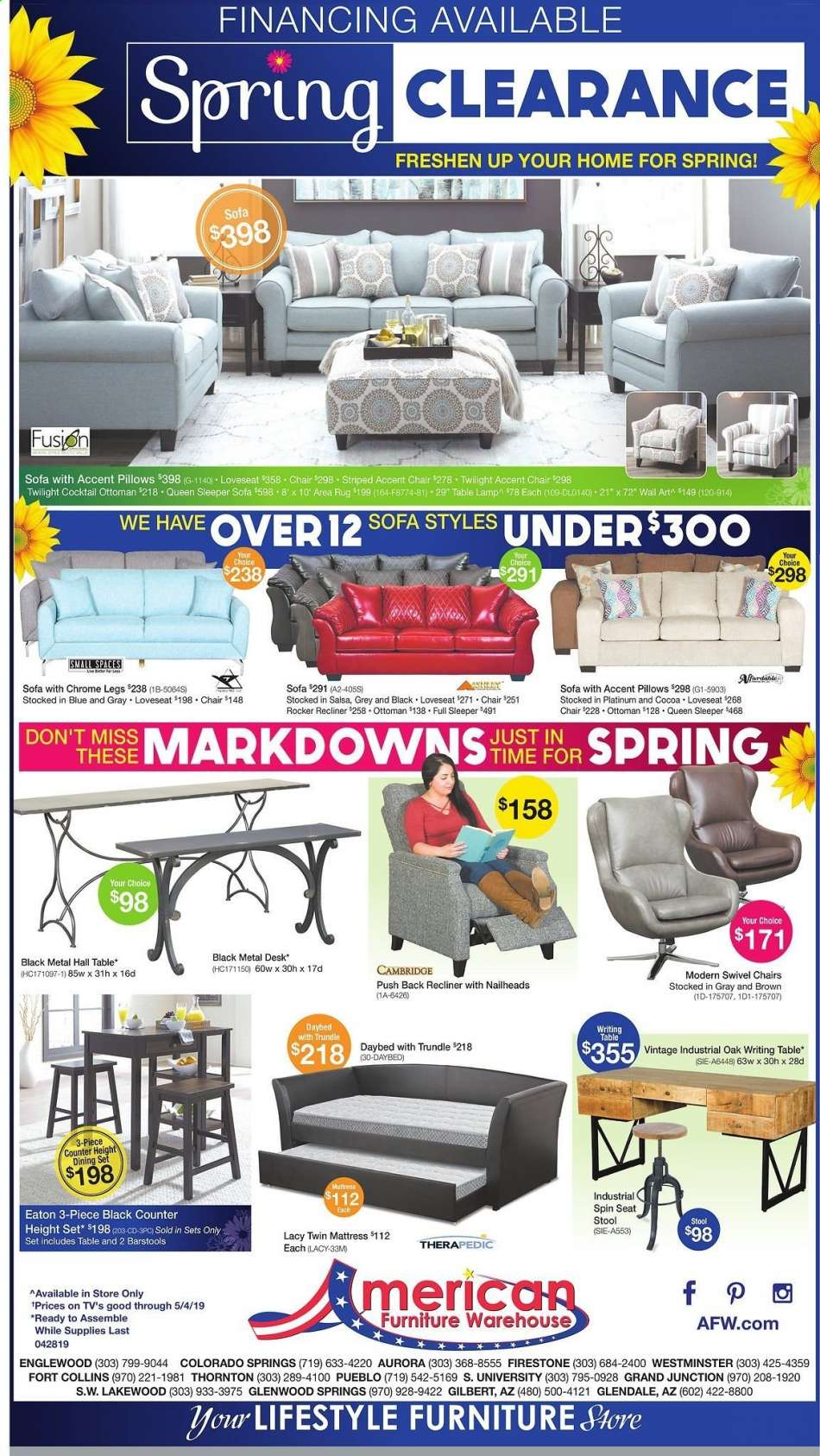 American Furniture Warehouse Flyer 04 28 2019 05 04 2019