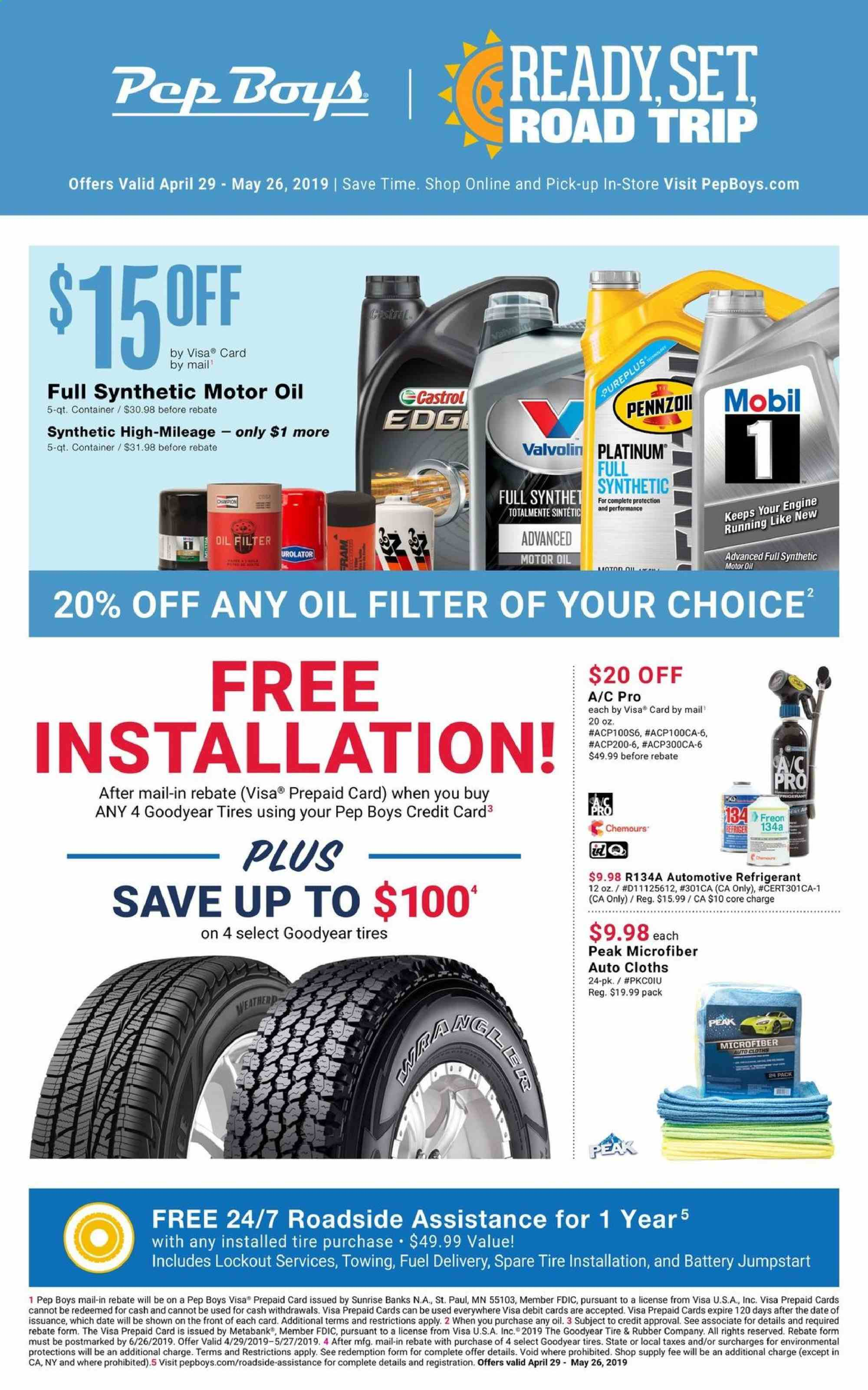 Pep Boys Flyer  - 04.29.2019 - 05.26.2019. Page 1.