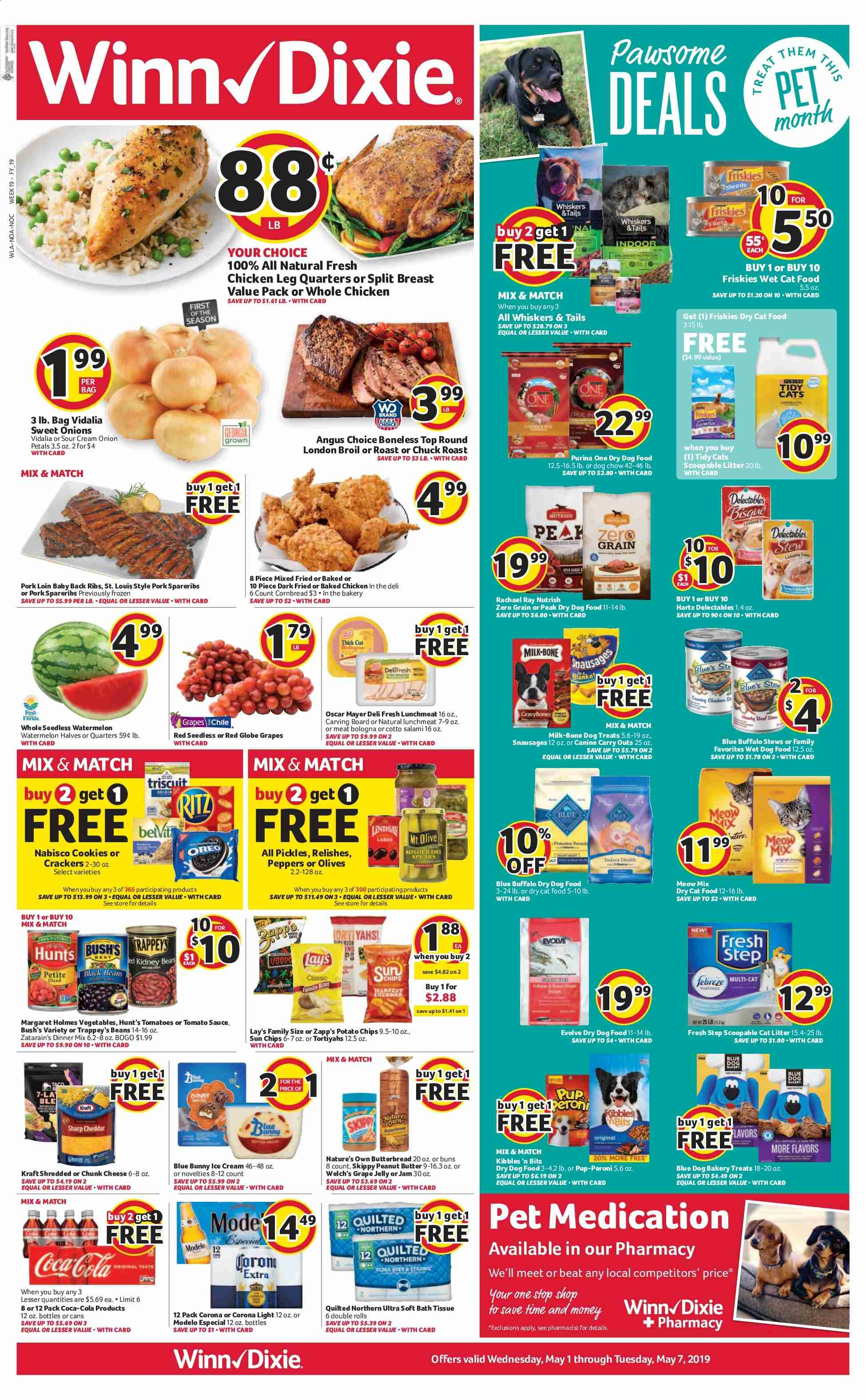 Winn Dixie Flyer - 05.01.2019 - 05.07.2019 - Sales products - Corona, tomatoes, onion, vegetable, grapes, red globe grapes, watermelon, corn bread, whole chicken, chicken, baby back pork ribs, pork loin, pork meat, cheese, jelly, sauce, ice cream, beans, cracker, crackers, tomato sauce, grape jelly, jam, Coca-Cola, bath tissue, Quilted Northern, cat litter, litter, animal food, Blue Buffalo, cat food, dog food, Purina, ribs. Page 1.