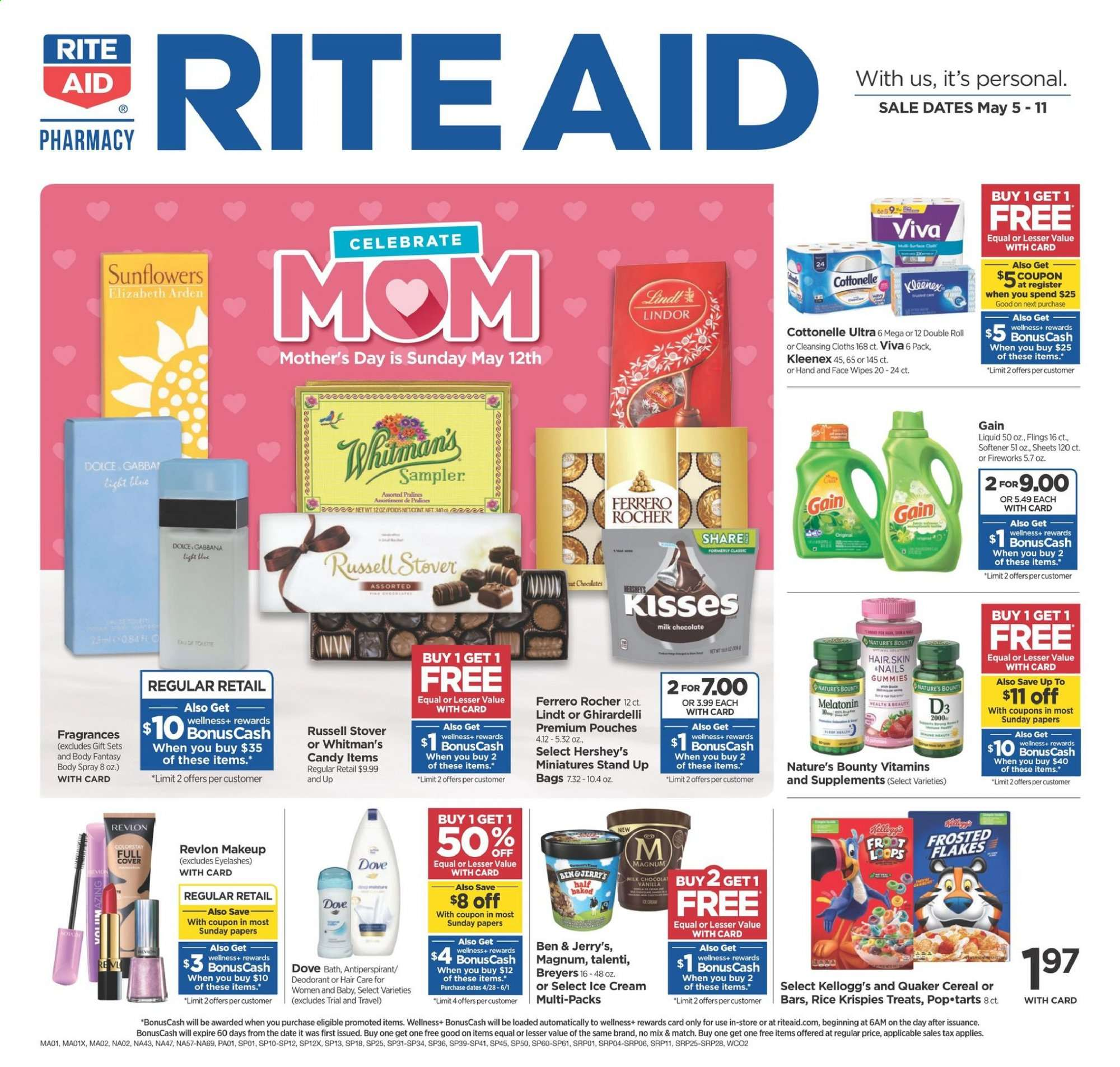 RITE AID Flyer - 05.05.2019 - 05.11.2019 - Sales products - bag, bath, cereals, cottonelle, dates, dove, kleenex, magnum, makeup, nature's bounty, revlon, rice, stand, wipes, ice cream, candy, softener, cereal, eyelashes, lindt, lindor, ferrero rocher, bounty, liquid, treats, cream. Page 1.
