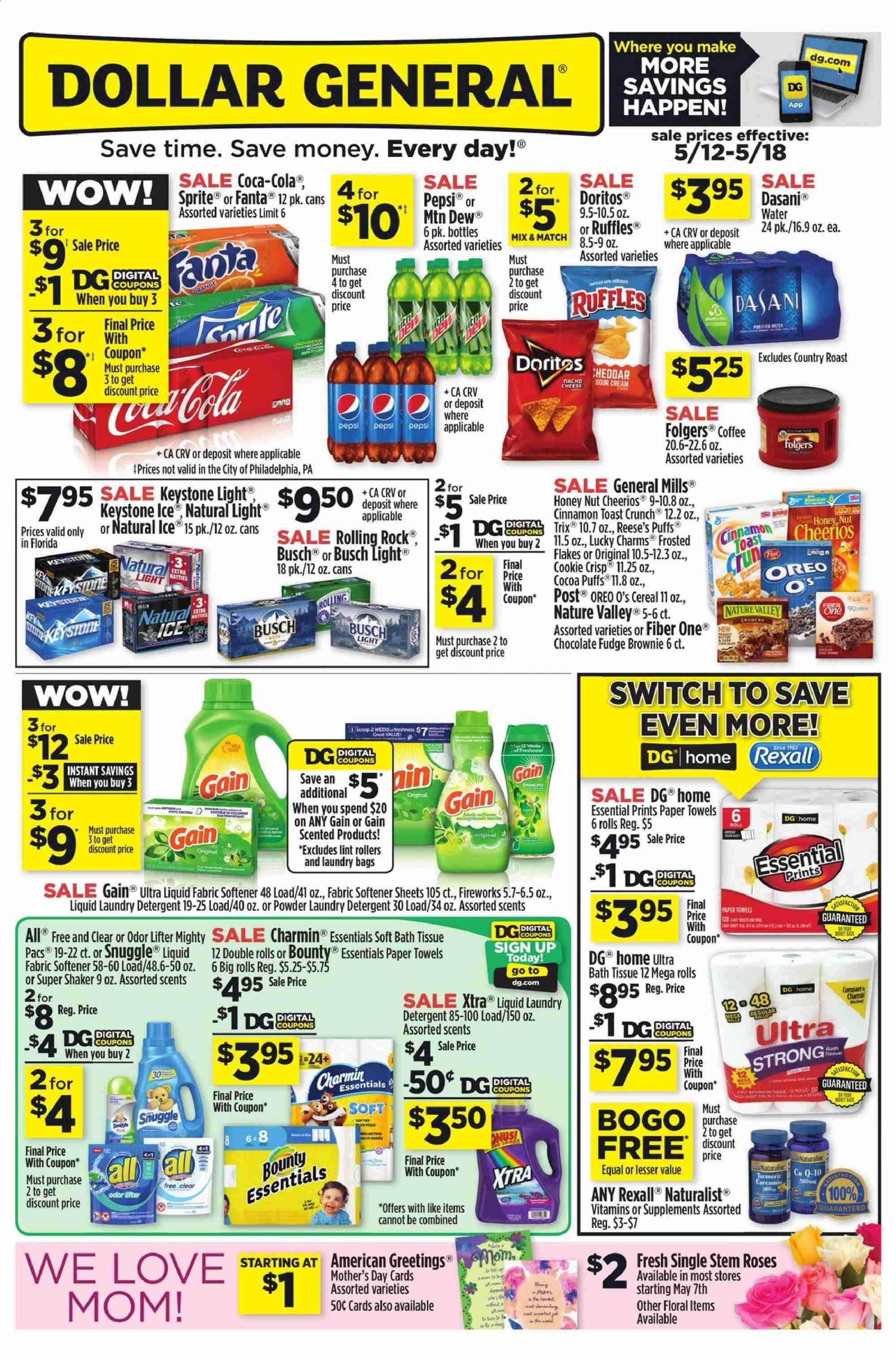 Dollar General Flyer  - 05.12.2019 - 05.18.2019. Page 1.