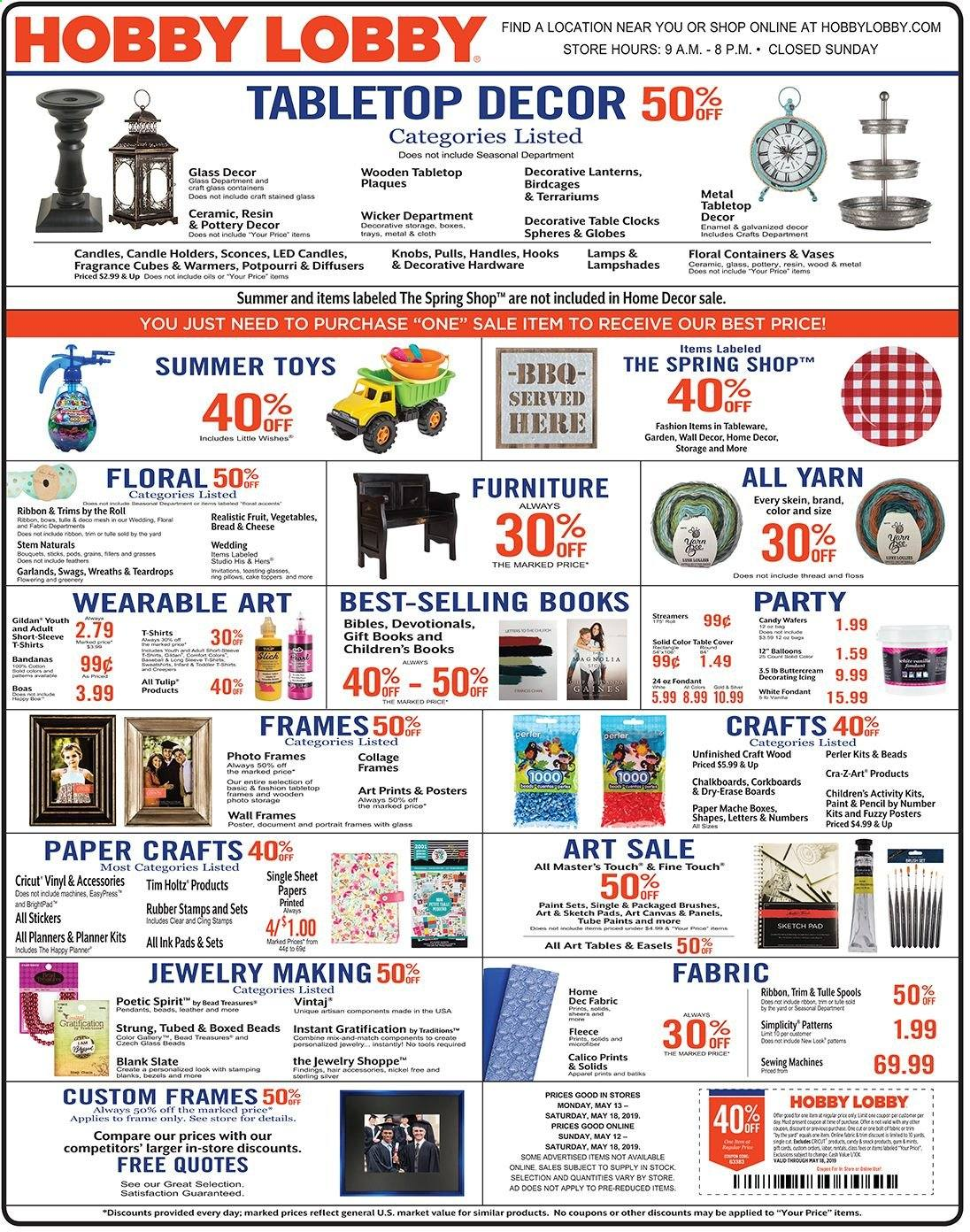 Hobby Lobby Flyer  - 05.12.2019 - 05.18.2019. Page 1.