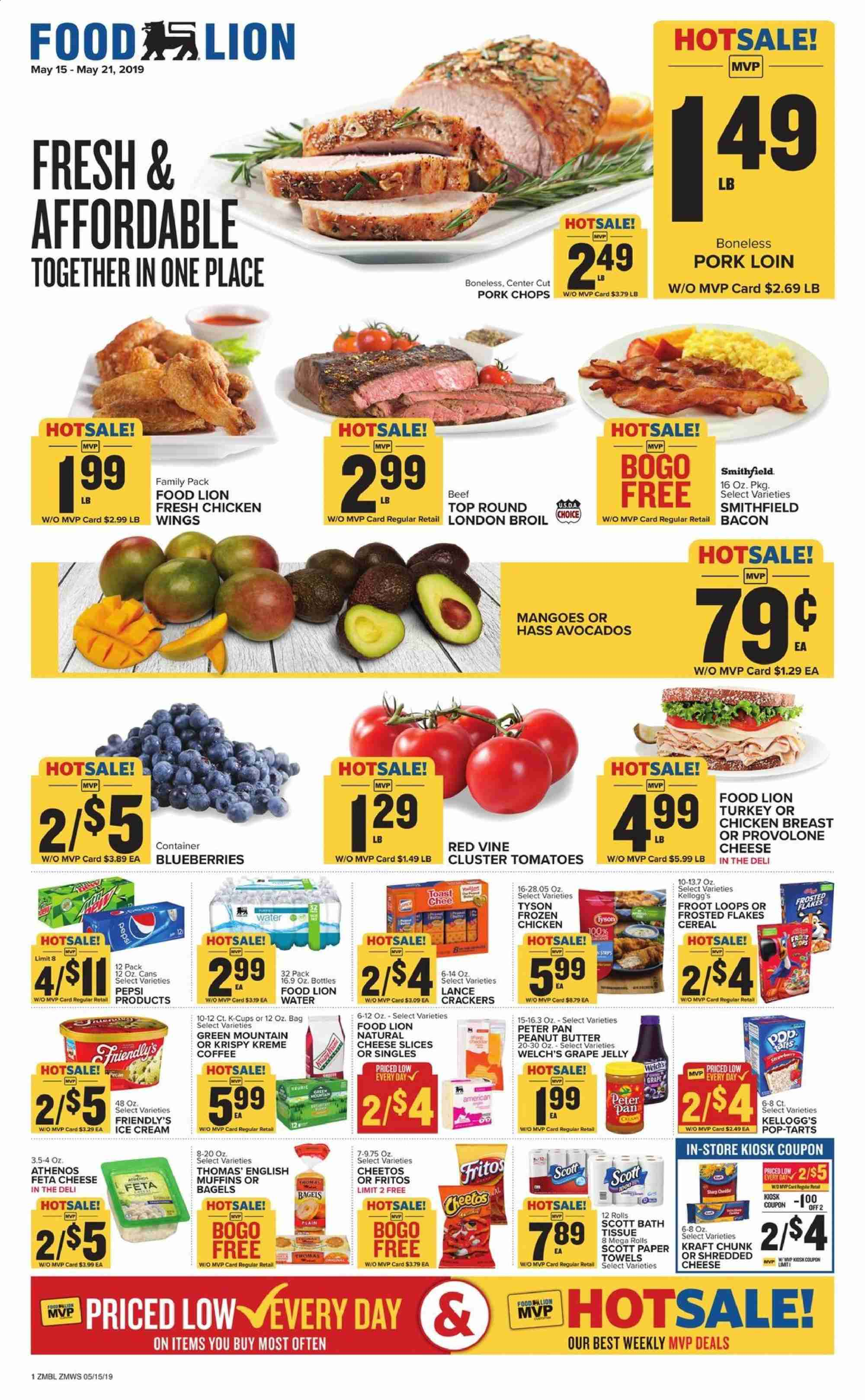 Food Lion Flyer - 05.15.2019 - 05.21.2019 - Sales products - tomatoes, avocado, blueberries, grapes, mango, muffin, english muffins, bacon, feta, cheese, jelly, cracker, crackers, Cheetos, grape jelly, peanut butter, water, turkey, chicken, chicken breast, chicken wings, pork chops, pork meat, pan, Frozen, paper, muffins, cream. Page 1.