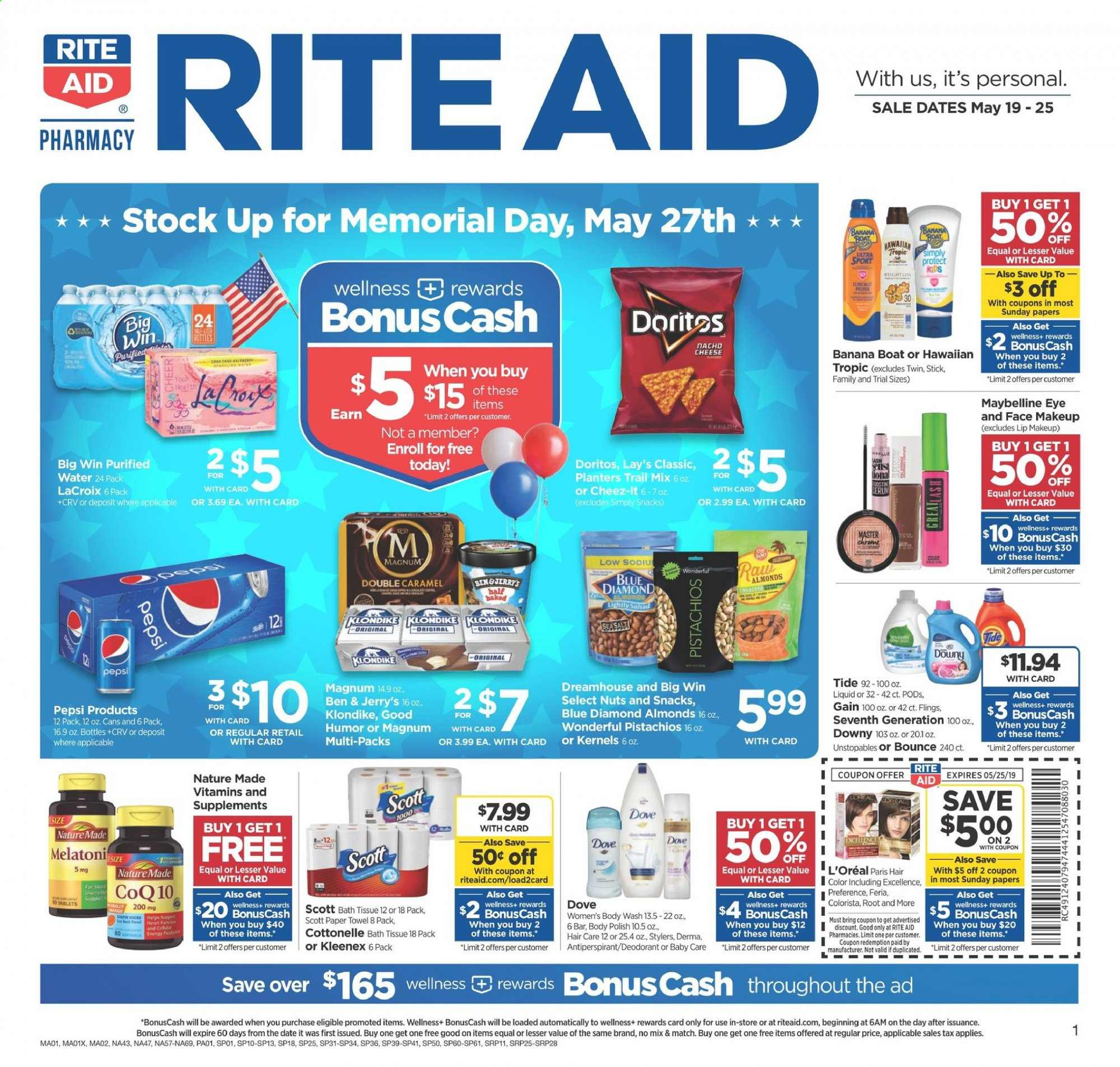 RITE AID Flyer - 05.19.2019 - 05.25.2019 - Sales products - Scott, Magnum, Doritos, snack, Lay's, almonds, nuts, Dove, bath tissue, Cottonelle, Kleenex, paper towel, Gain, Downy, Tide, Unstopables, body wash, L'Oréal, hair color, anti-perspirant, makeup, Maybelline, Nature Made. Page 1.