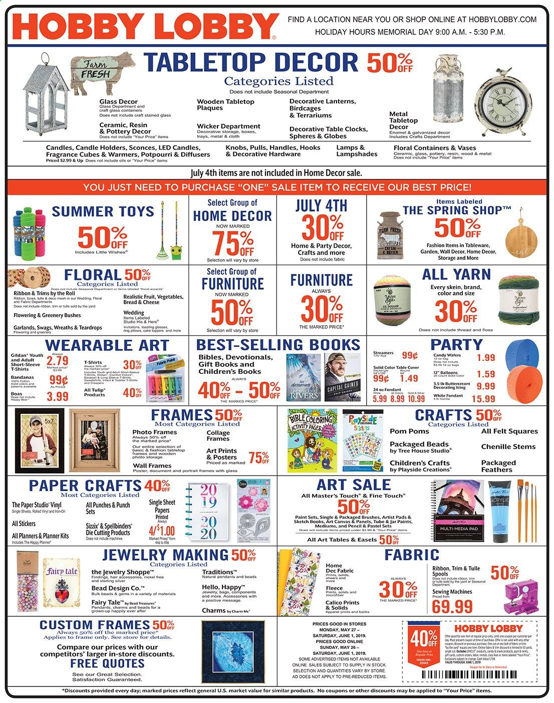 Hobby Lobby Flyer  - 05.26.2019 - 06.01.2019. Page 1.
