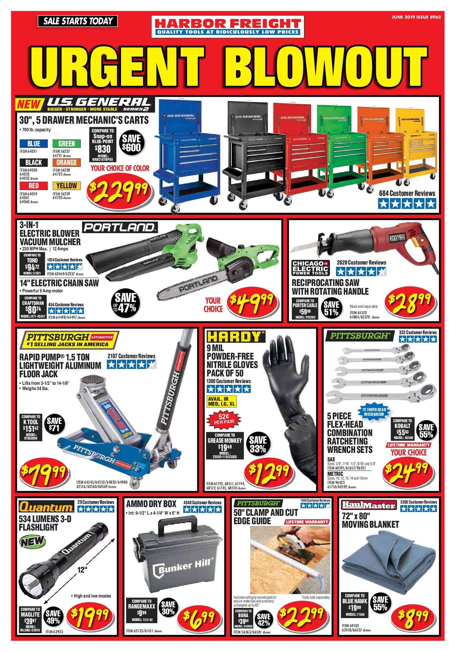 Harbor Freight Flyer  - 06.01.2019 - 06.30.2019. Page 1.