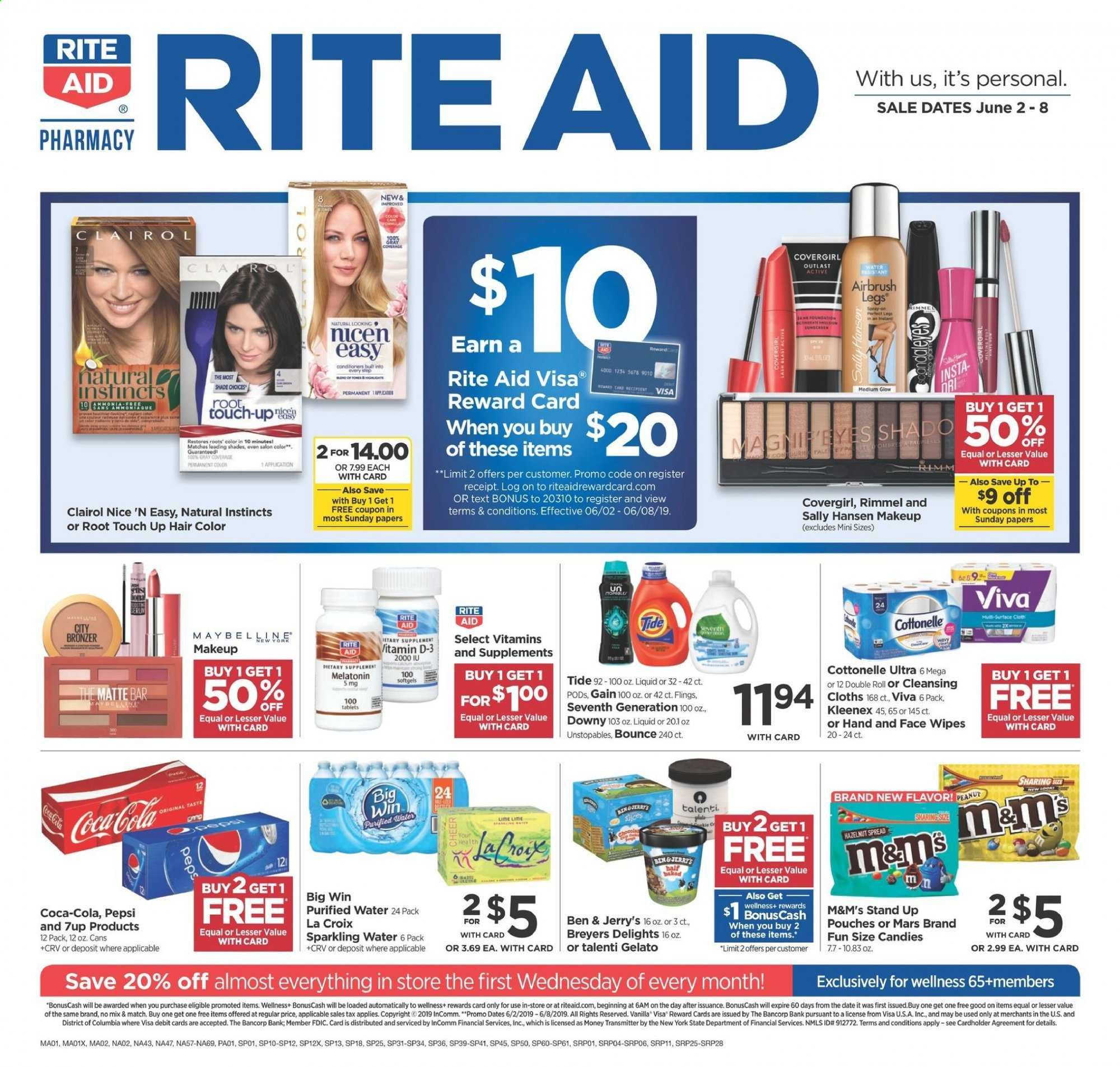 RITE AID Flyer - 06.02.2019 - 06.08.2019 - Sales products - bounce, clairol, coca-cola, cottonelle, d3, dates, downy, columbia, gain, gelato, kleenex, makeup, rimmel, sally hansen, shades, stand, tide, unstopables, wipes, pepsi, candy, sparkling water, hair color, mars, liquid, purified water, m&m's. Page 1.