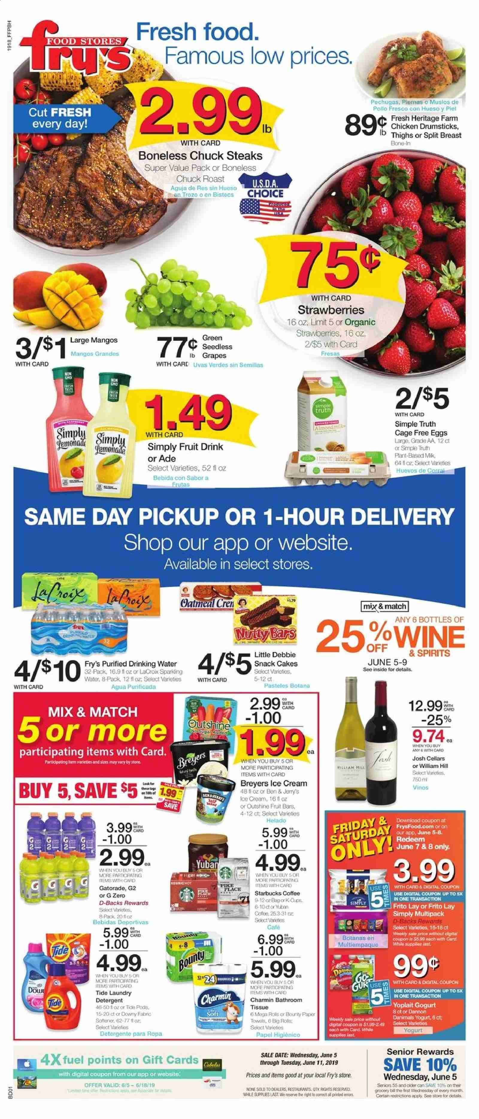Fry's Flyer - 06.05.2019 - 06.11.2019 - Sales products - grapes, mango, strawberries, cake, eggs, ice cream, Bounty, snack, oatmeal, fruit drink, water, coffee, chicken, chicken legs, detergent, Tide, laundry detergent, towel, Starbucks. Page 1.