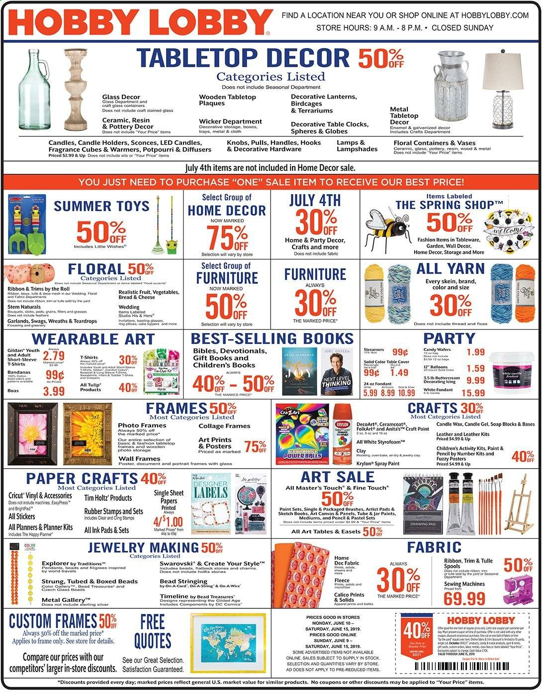 Hobby Lobby Flyer  - 06.09.2019 - 06.15.2019. Page 1.
