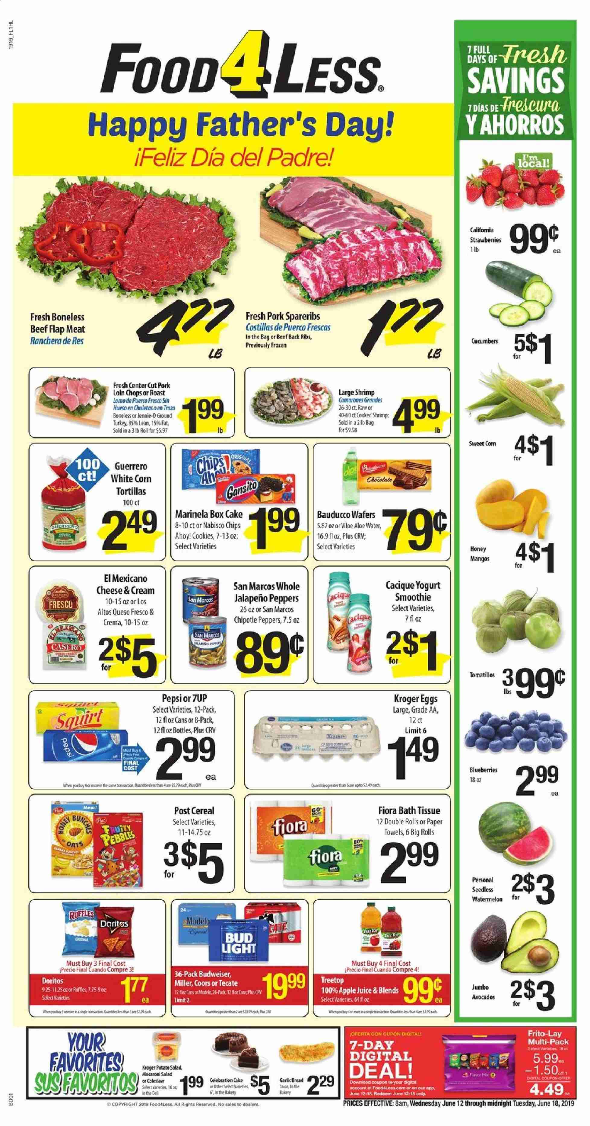 Food 4 Less Flyer  - 06.12.2019 - 06.18.2019. Page 1.