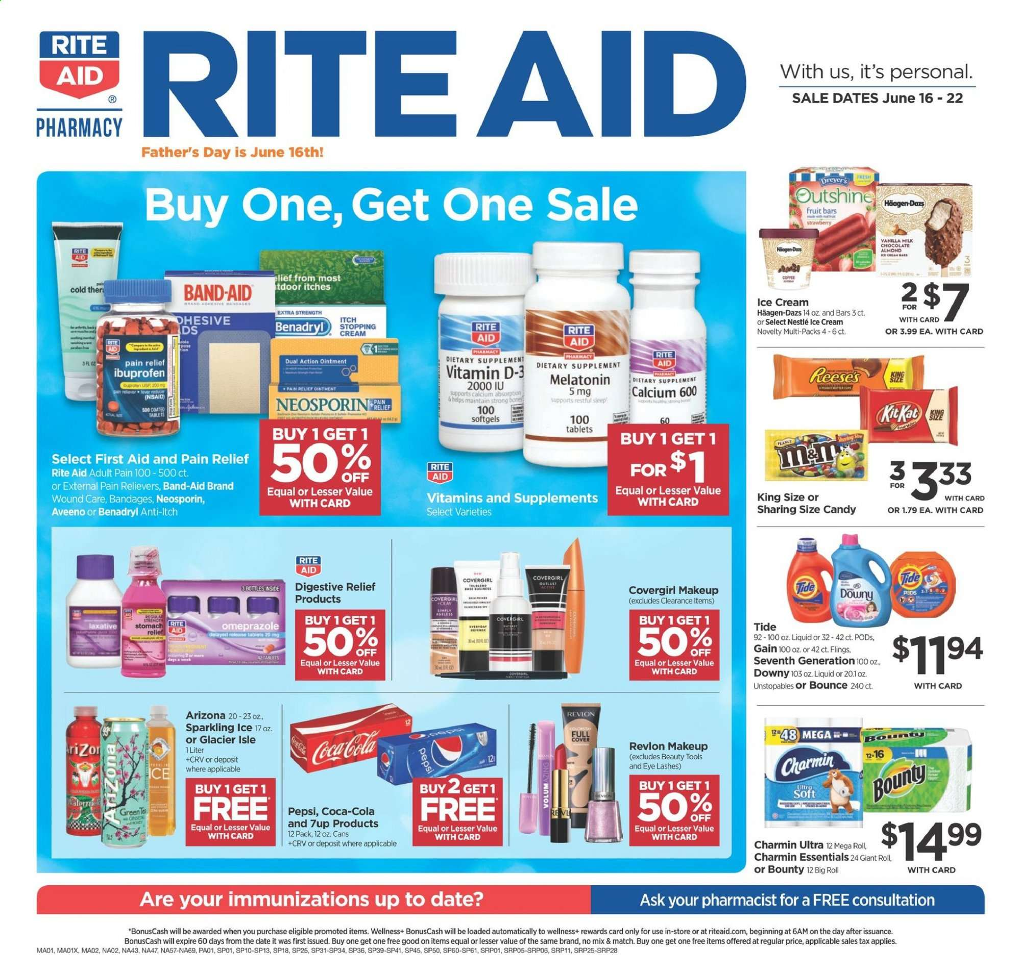 RITE AID Flyer - 06.16.2019 - 06.22.2019 - Sales products - aveeno, band, band-aid, bounce, calcium, coca-cola, dates, downy, gain, makeup, melatonin, neosporin, nestlé, revlon, tide, unstopables, ibuprofen, ice cream, pain relief, pepsi, ointment, candy, strawberry, bounty, fruit, liquid, extra strength, bones, tablets, cream. Page 1.