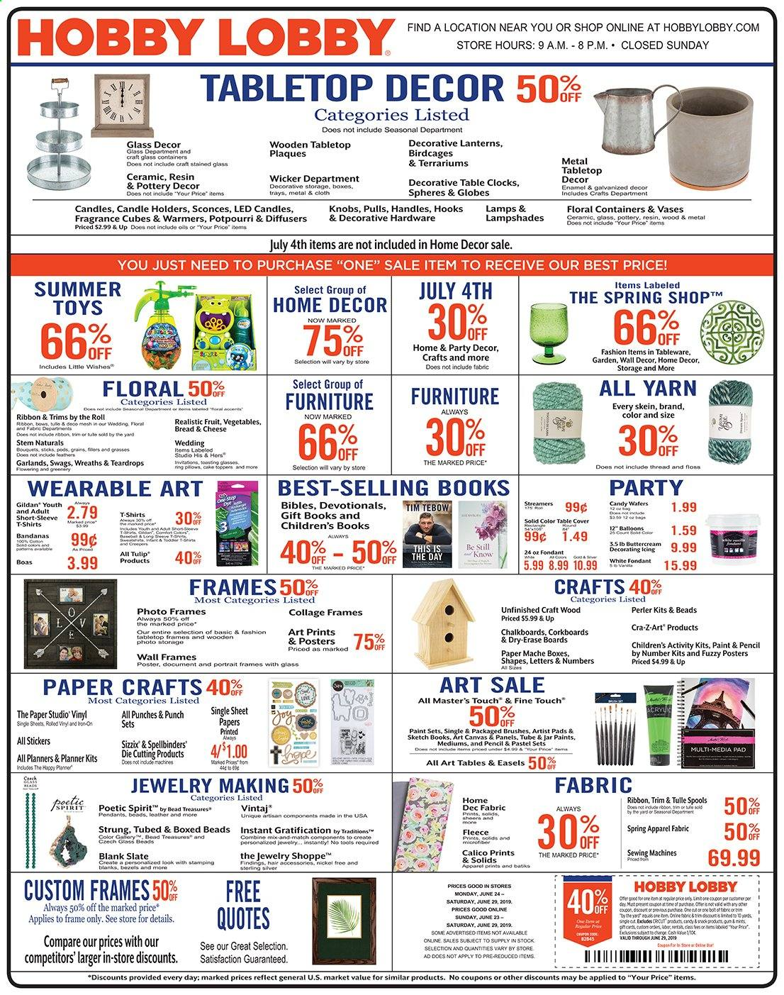 Hobby Lobby Flyer  - 06.23.2019 - 06.29.2019. Page 1.