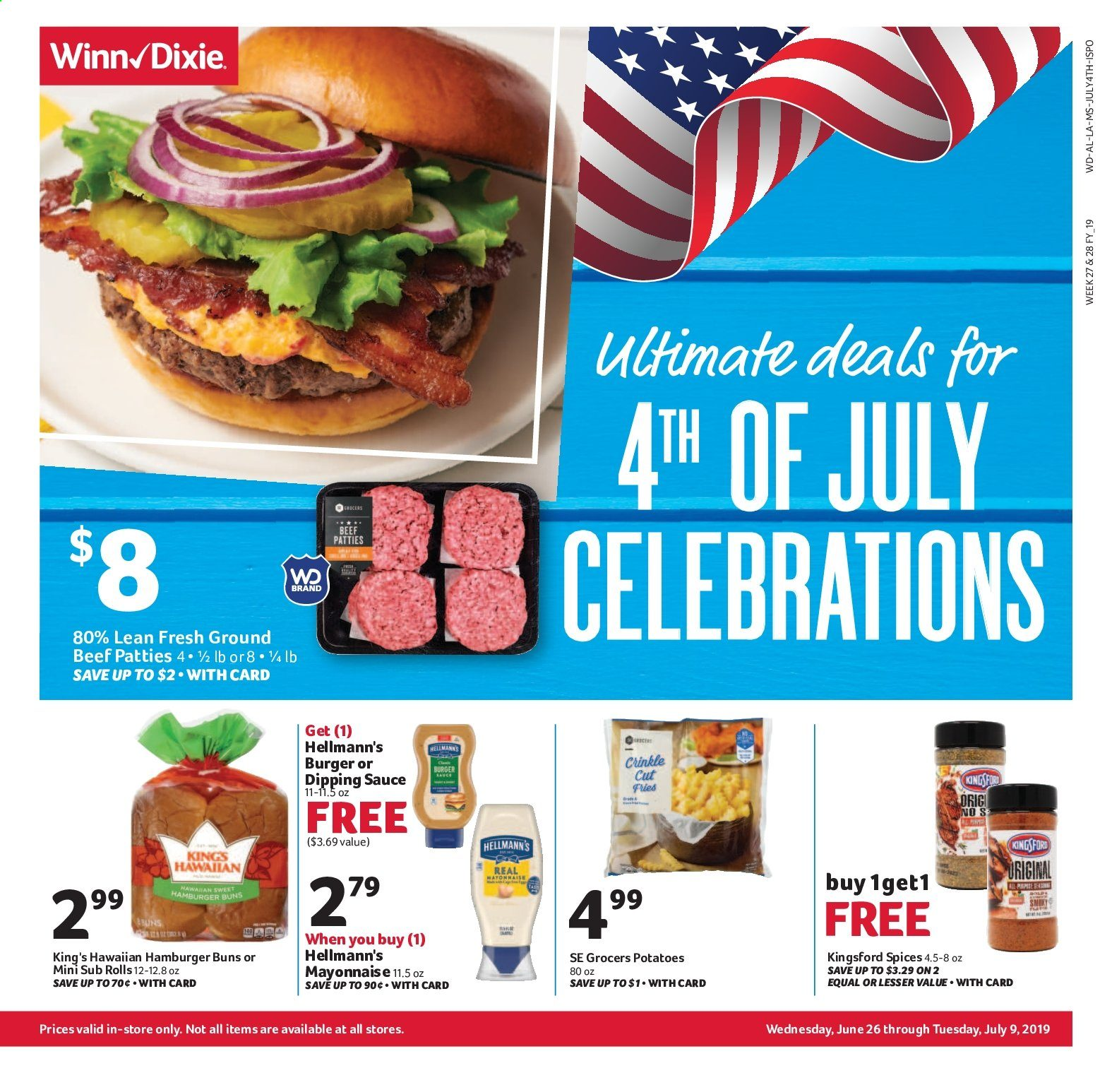 Winn Dixie Flyer  - 06.26.2019 - 07.09.2019. Page 1.