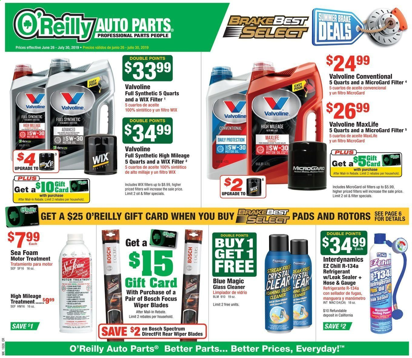 O'Reilly Auto Parts Flyer  - 06.26.2019 - 07.30.2019. Page 1.