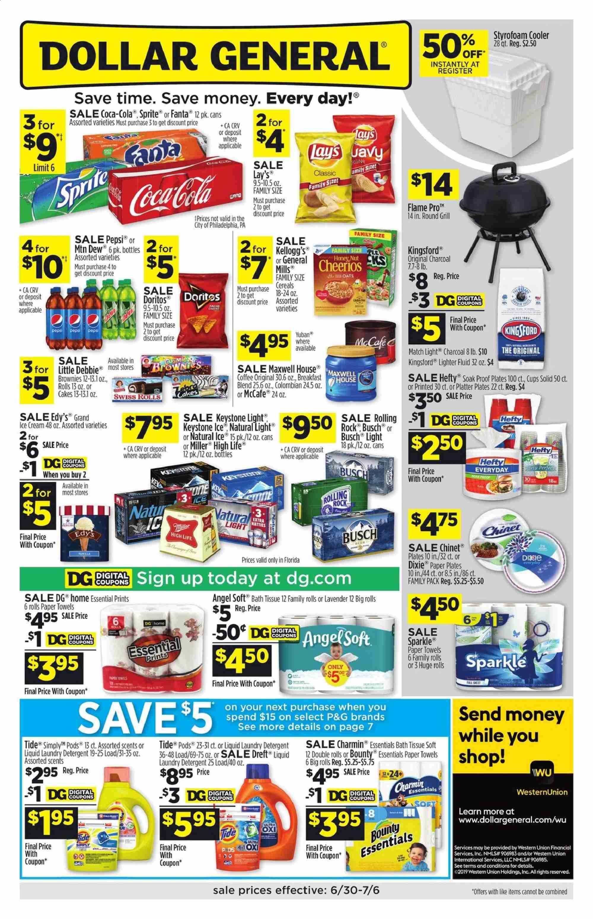 Dollar General Flyer  - 06.30.2019 - 07.06.2019. Page 1.