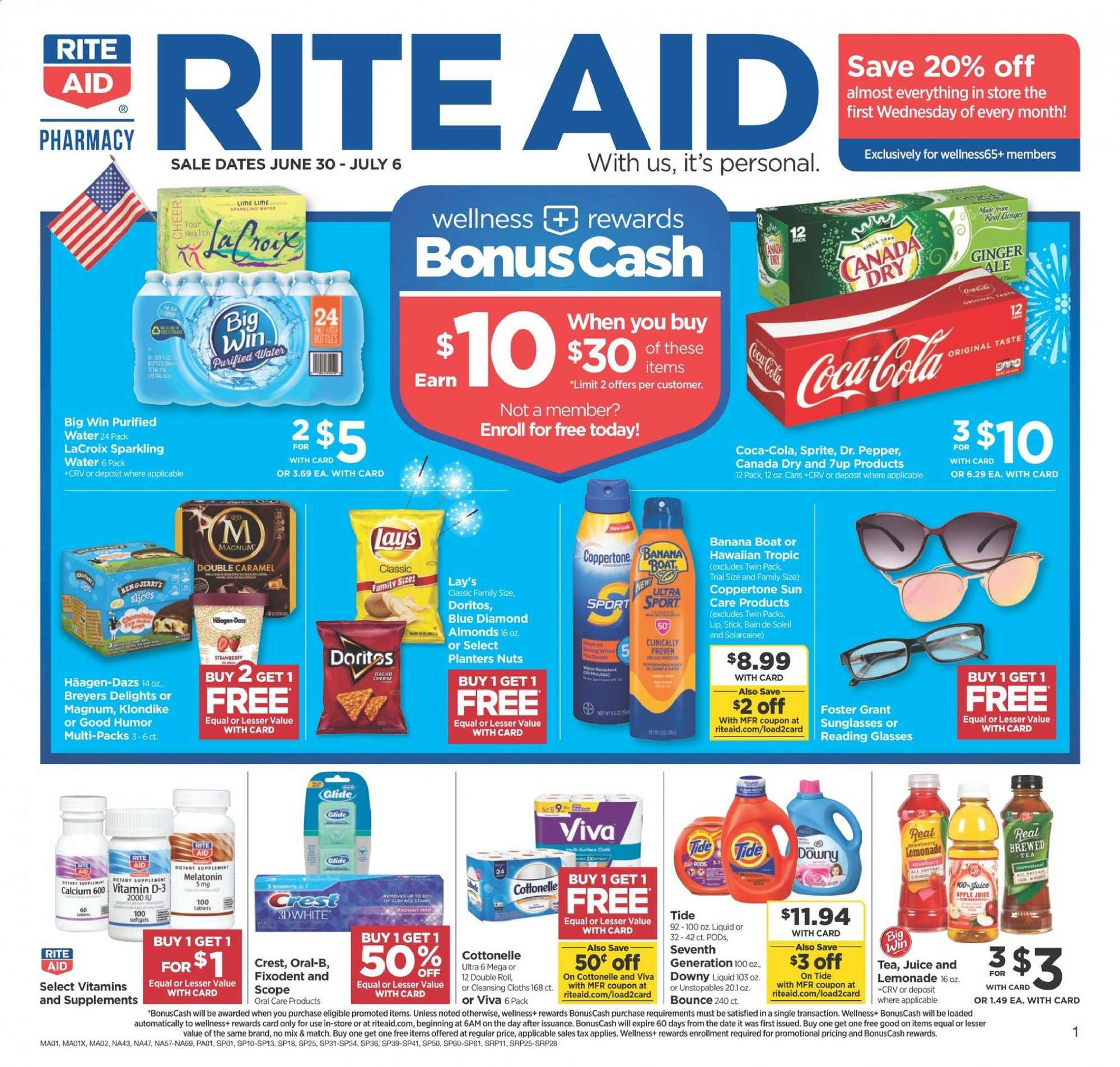 RITE AID Flyer - 06.30.2019 - 07.06.2019 - Sales products - Magnum, chocolate, Doritos, Lay's, strawberries, ginger, pepper, almonds, nuts, apple juice, Canada Dry, Coca-Cola, ginger ale, lemonade, Sprite, juice, Dr. Pepper, sparkling water, water, tea, Cottonelle, Downy, Tide, Unstopables, Oral-b, Fixodent, glass, sunglasses, glasses, calcium, Melatonin. Page 1.