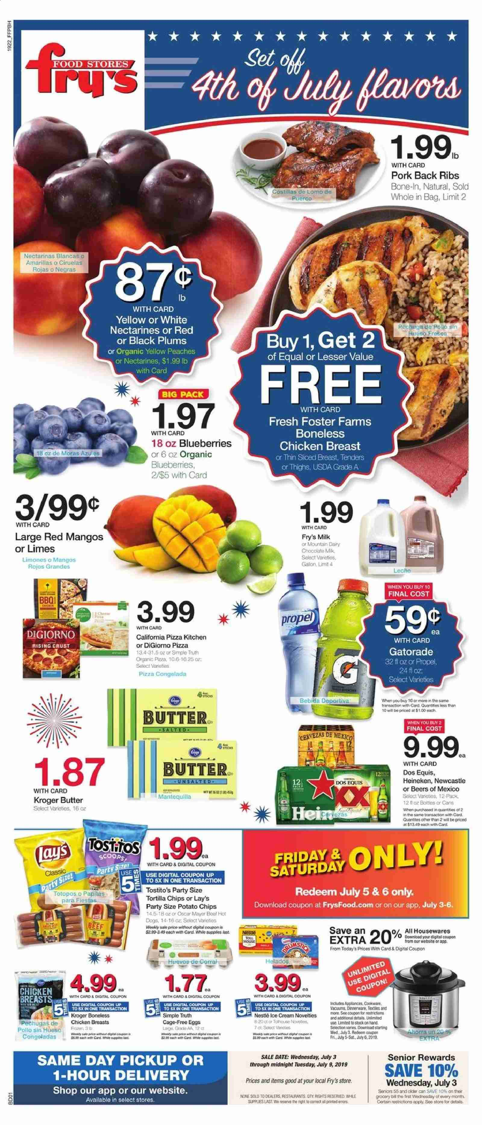 Fry's Flyer - 07.03.2019 - 07.09.2019 - Sales products - Dos Equis, blueberries, limes, mango, nectarines, plums, peache, hot dog, pizza, milk, eggs, butter, chocolate, tortilla chips, potato chips, chips, Lay's, chicken, chicken breast, beef meat, pork meat, dinnerware set, ribs, hot dogs. Page 1.