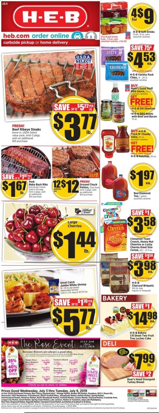 H-E-B Flyer  - 07.03.2019 - 07.09.2019. Page 1.