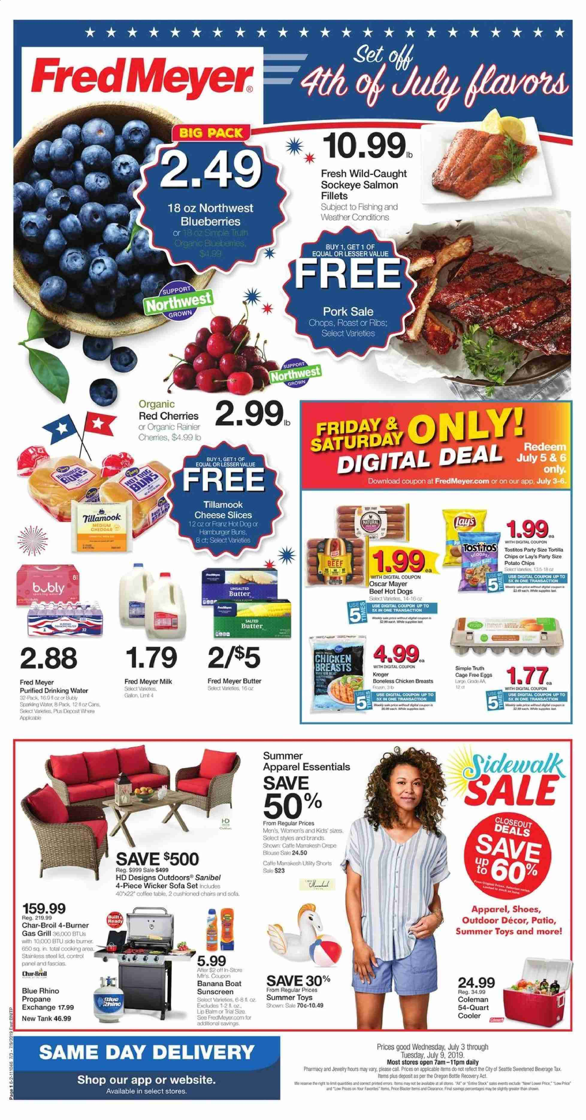 Fred Meyer Flyer - 07.03.2019 - 07.09.2019 - Sales products - blueberries, cherries, salmon, hot dog, cheddar, cheese, milk, eggs, butter, tortilla chips, chips, Lay's, water, chicken, chicken breast, beef meat, hamburger, pork meat, lip balm, Cars, toys, ribs, hůll, Rhino, essentials, hot dogs. Page 1.