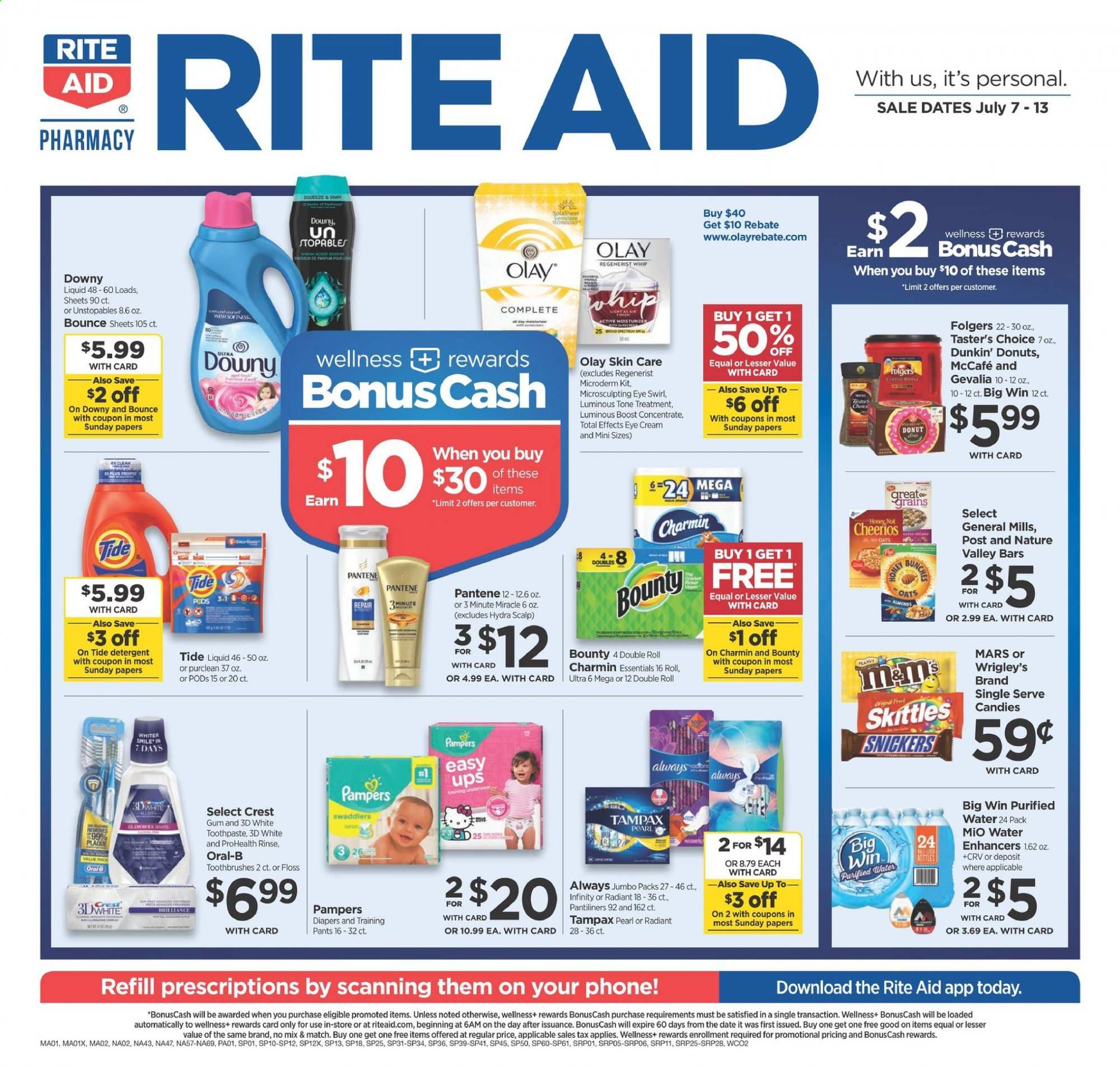 RITE AID Flyer - 07.07.2019 - 07.13.2019 - Sales products - candy, Snickers, Bounty, Mars, oats, Cheerios, water, Folgers, Pampers, diapers, detergent, Downy, Tide, Unstopables, Oral-b, toothpaste, Tampax, pantiliners, moisturizer, Olay, Pantene, repair, cream, donut, essentials. Page 1.